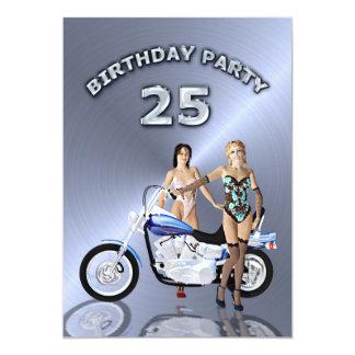 25. Geburtstags-Party Einladung mit einem Motorrad
