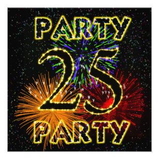 25. Geburtstags-Party Einladung mit Feuerwerken