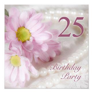 25. Geburtstags-Party Einladung mit Gänseblümchen