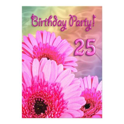 25. Geburtstags-Party Einladung mit rosa Blumen