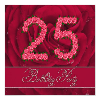 25. Geburtstags-Party Einladung mit Rosen