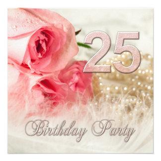 25. Geburtstags-Party Einladung, -Rosen und