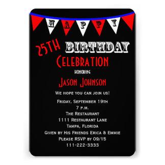 25 Geburtstags-Party Einladungs-Flagge