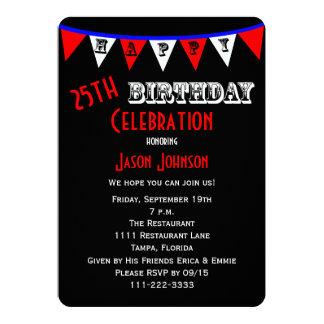25. Geburtstags-Party Einladungs-Flagge Einladungskarten