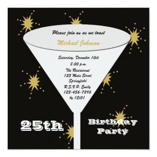25. Geburtstags-Party Einladungs-Gold25. Toast Quadratische 13,3 Cm Einladungskarte