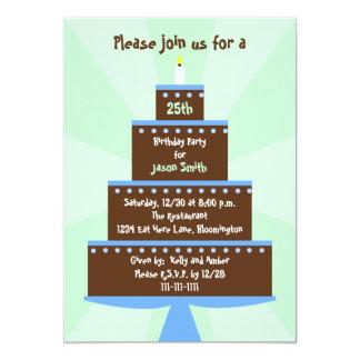 25. Geburtstags-Party Einladungs-Kuchen auf Grün 12,7 X 17,8 Cm Einladungskarte