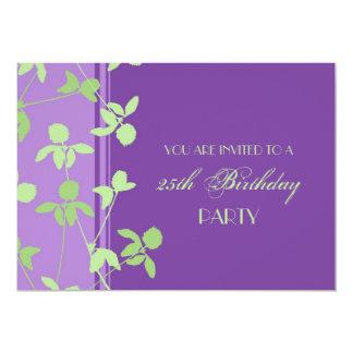 25. Geburtstags-Party Einladungs-lila Grün Personalisierte Einladungskarte