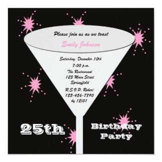 25. Geburtstags-Party Einladungs-Rosa-25. Toast Quadratische 13,3 Cm Einladungskarte