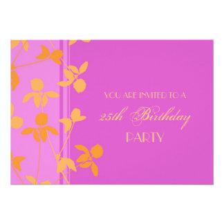 25 Geburtstags-Party Einladungs-Rosa-Orange
