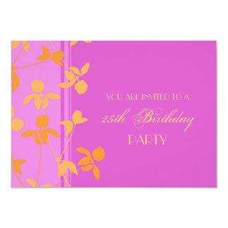 25. Geburtstags-Party Einladungs-Rosa-Orange 12,7 X 17,8 Cm Einladungskarte