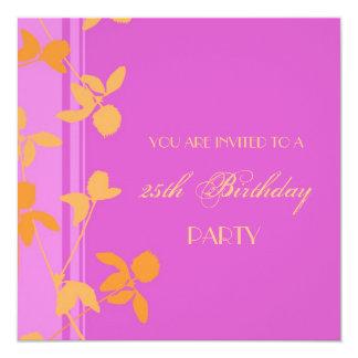 25. Geburtstags-Party Einladungs-Rosa-Orange Quadratische 13,3 Cm Einladungskarte