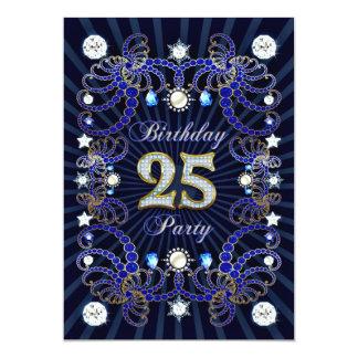 25. Geburtstags-Party laden mit Massen der Juwelen 12,7 X 17,8 Cm Einladungskarte