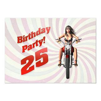 25. Geburtstags-Party mit einem Mädchen auf einem 12,7 X 17,8 Cm Einladungskarte