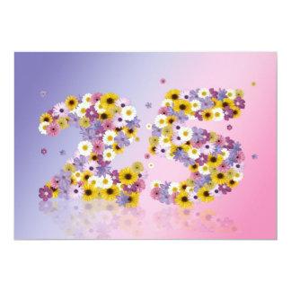 25. Geburtstags-Party, mit geblühten Buchstaben 12,7 X 17,8 Cm Einladungskarte