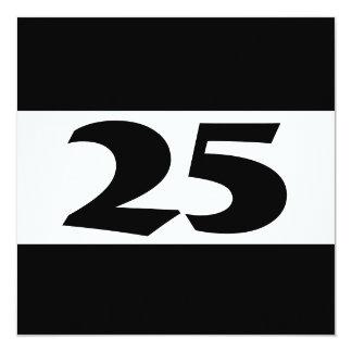 25. Geburtstags-Party modernes Schwarzweiss-w855 Quadratische 13,3 Cm Einladungskarte