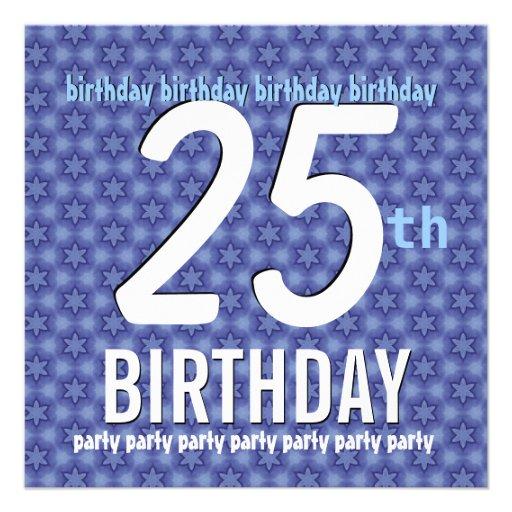 25. Geburtstags-Party-Schablonen-glänzende blaue Individuelle Einladungskarte