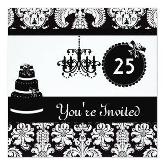 25. Geburtstags-Party-schwarzer u. weißer Damast Quadratische 13,3 Cm Einladungskarte