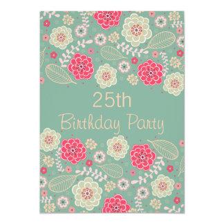 25. Geburtstags-Partychic-Funky modernes Blumen 12,7 X 17,8 Cm Einladungskarte