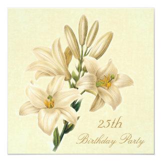 25. Geburtstags-Partychic-Vintage Lilien-Blumen Quadratische 13,3 Cm Einladungskarte