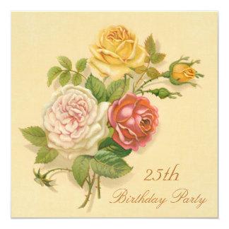 25. Geburtstags-Partychic-Vintage Rosen Quadratische 13,3 Cm Einladungskarte