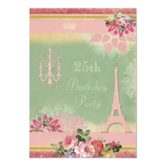 25. Geburtstags-rosa Eiffelturm und Leuchter 12,7 X 17,8 Cm Einladungskarte