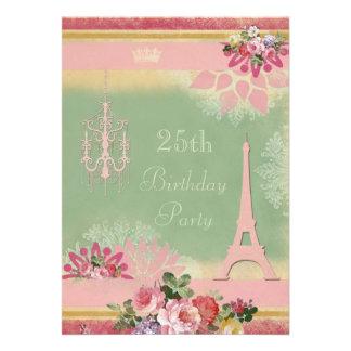 25. Geburtstags-rosa Eiffelturm und Leuchter Ankündigung