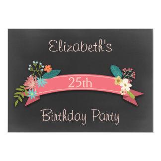 25. Geburtstags-rosa Fahnen-Blumen-Tafel Einladungen