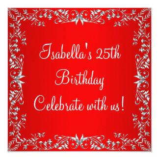 25. Geburtstags-rotes u. silbernes Blumenmetall Quadratische 13,3 Cm Einladungskarte