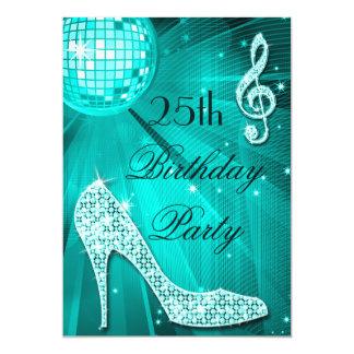 25. Geburtstags-Schein-Heels und aquamariner 12,7 X 17,8 Cm Einladungskarte
