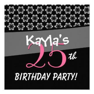 25. Geburtstags-Schwarz-weiße kleine Sterne Individuelle Einladungen
