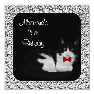 25. Geburtstags-schwarzer u. weißer Katzen-u. Quadratische 13,3 Cm Einladungskarte