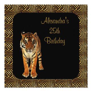 25. Geburtstags-Tiger mit Tierdruck-Rahmen Quadratische 13,3 Cm Einladungskarte