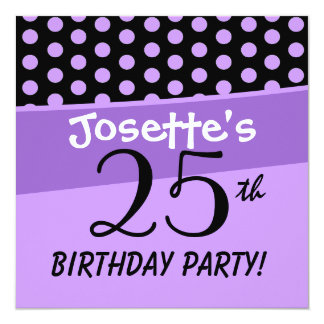25. Geburtstags-Tupfen-moderne Schablone Quadratische 13,3 Cm Einladungskarte