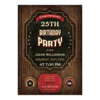 25. Geburtstags-Vintage Tafel u. Holz 12,7 X 17,8 Cm Einladungskarte