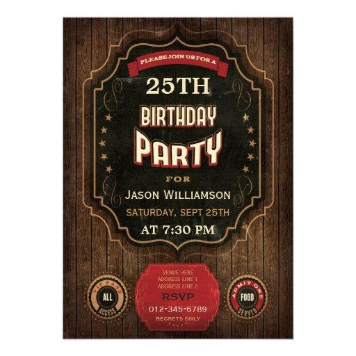 25. Geburtstags-Vintage Tafel u. Holz Individuelle Ankündigskarten