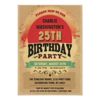 25. Geburtstags-Vintager TypografieGrunge 12,7 X 17,8 Cm Einladungskarte