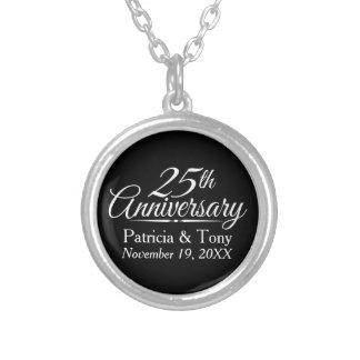 25. Hochzeits-Jahrestag personalisiert Halskette Mit Rundem Anhänger