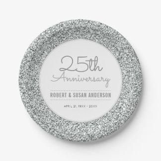 25. Hochzeits-Jahrestags-Imitat-silberner Glitter Pappteller