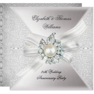 25. Hochzeits-Jahrestags-Party-Spitze-Perlen-Weiß Karte