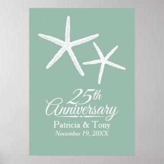 25. Hochzeits-JahrestagStarfish personalisiert Poster
