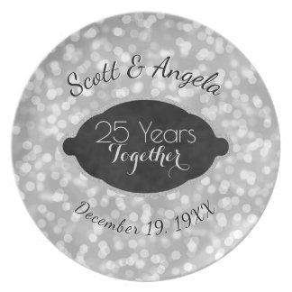 25. Hochzeitstag-Andenken-Silber 25 Jahre Teller