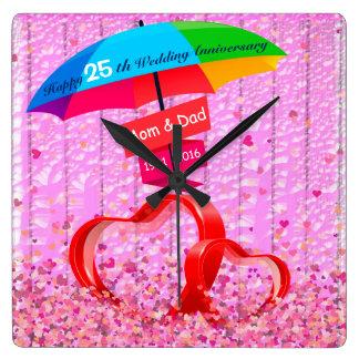 25. Hochzeitstag-Herzen mit Regenschirm Wanduhr