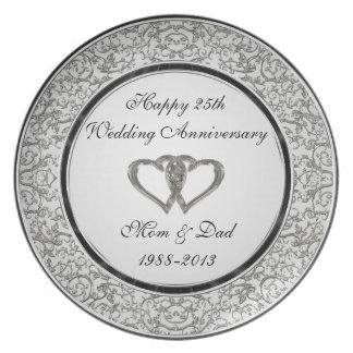 25. Hochzeitstag-Melamin-Platte Teller