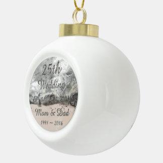 25. Hochzeitstag-schicke silberne Typografie Keramik Kugel-Ornament