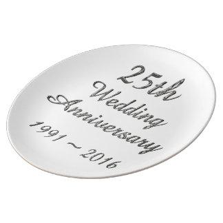 25. Hochzeitstag-schicke silberne Typografie Porzellanteller