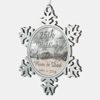 25. Hochzeitstag-schicke silberne Typografie Schneeflocken Zinn-Ornament