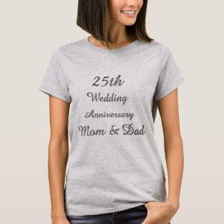 25. Hochzeitstag-schicke silberne Typografie T-Shirt