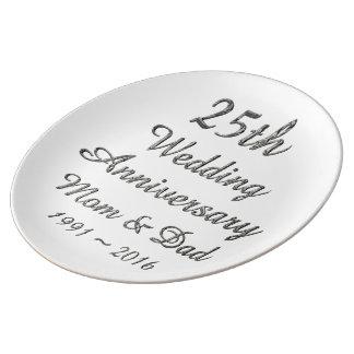 25. Hochzeitstag-schicke silberne Typografie Teller