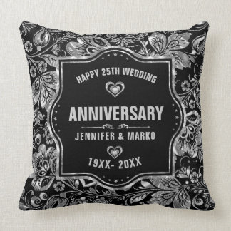 25. Hochzeitstag-Schwarzes und Silber-Entwurf Kissen