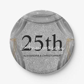 25. Hochzeitstag-Silber und schwarzer Schein Pappteller